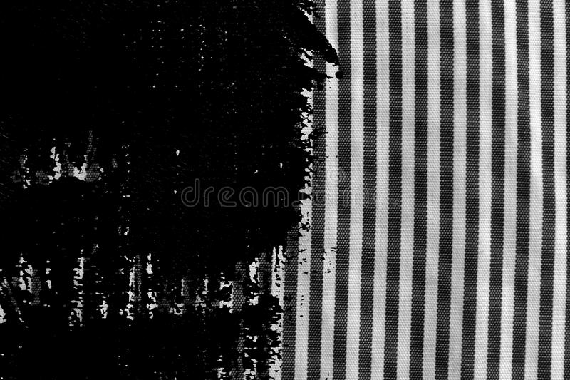 Grunge dirty Black and white closeup of stripped fabric texture royalty free stock photography