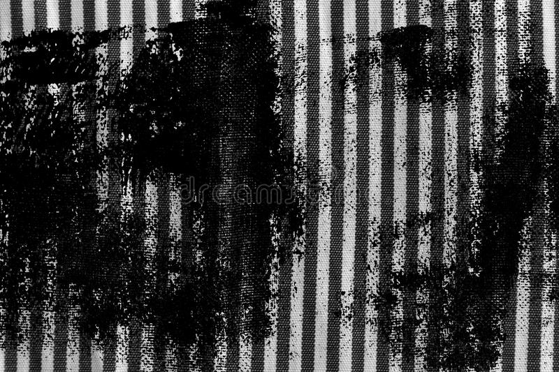 Grunge dirty Black and white closeup of stripped fabric texture stock photo