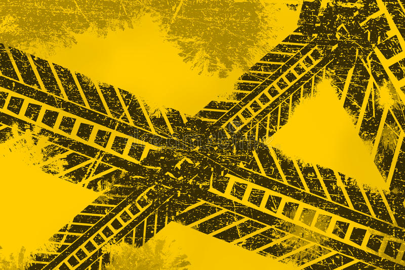 Grunge distressed black tire track road marking paintbrush stroke stripes on yellow background vector illustration