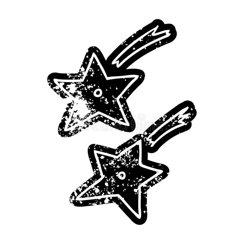 Grunge distressed icon of ninja throwing stars. Illustrated grunge distressed icon of ninja throwing stars stock illustration