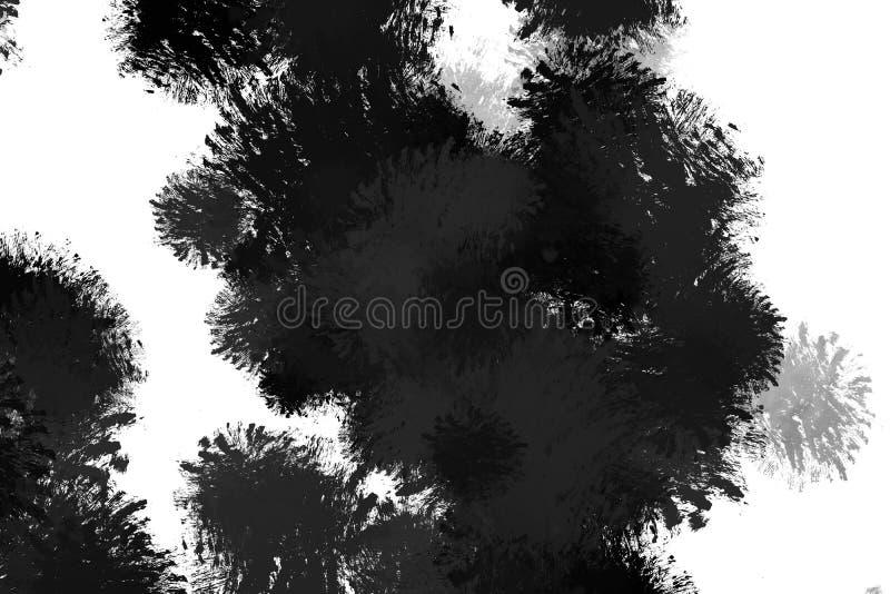 Grunge distressed lack paint splashes splattered across white ba royalty free illustration