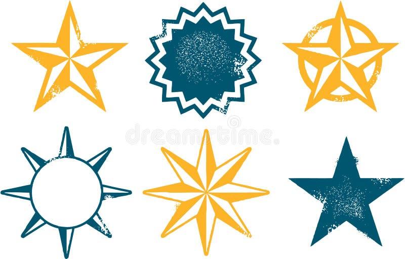 Grunge Distressed Stars. Vintage style distressed star graphics vector illustration