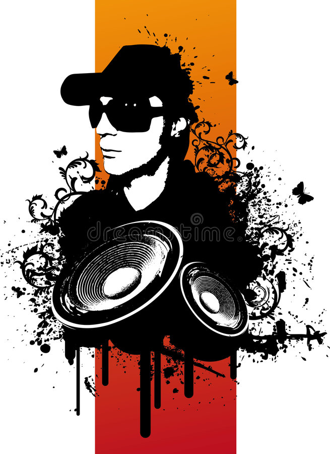Grunge DJ illustration libre de droits