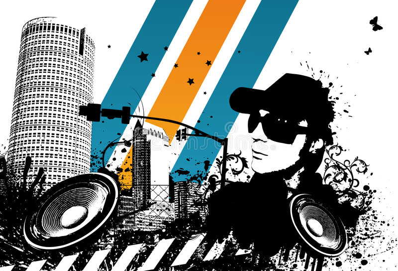 Grunge DJ City vector illustration