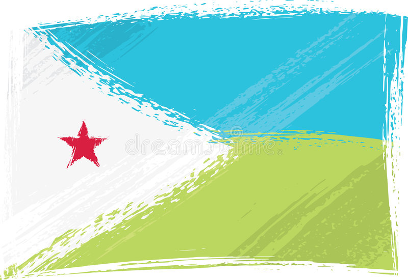 Grunge Djibouti flag. Djibouti national flag created in grunge style vector illustration
