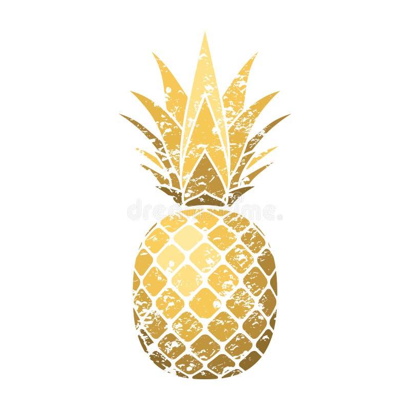 Grunge do abacaxi com folha Fundo branco isolado do ouro fruto exótico tropical Símbolo do alimento biológico, verão ilustração do vetor