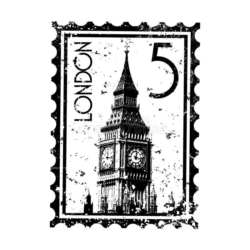 Grunge do estilo do selo ou do carimbo postal de Londres ilustração do vetor