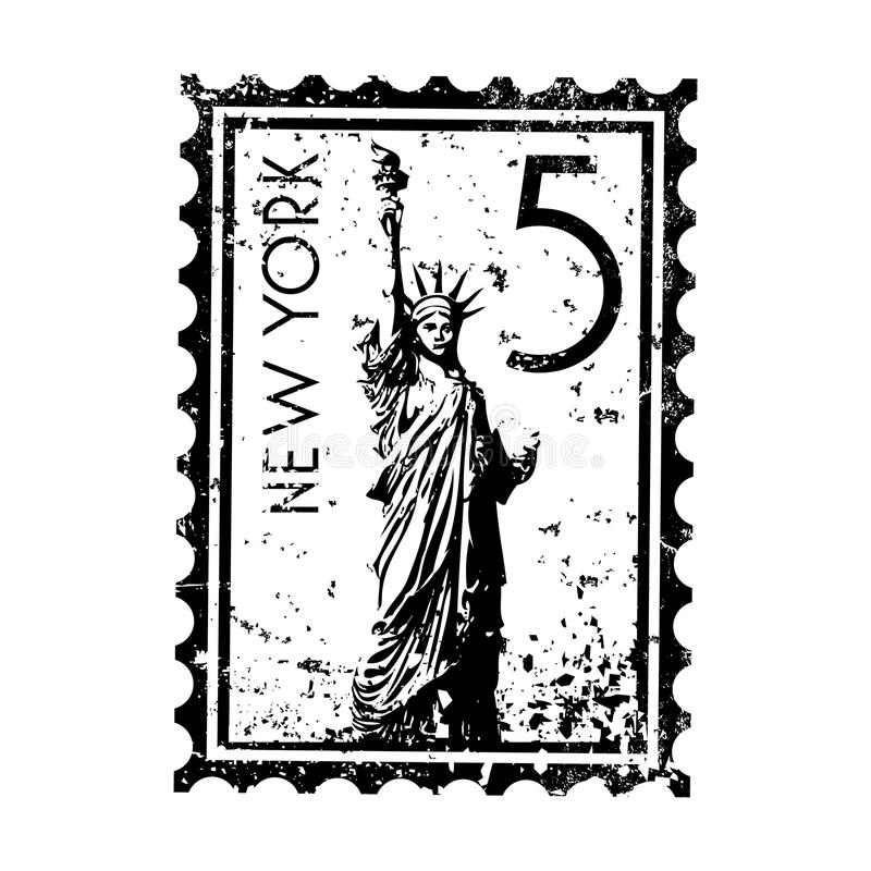 Grunge do estilo do selo ou do carimbo postal de New York ilustração royalty free