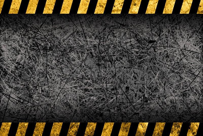 Grunge donkere grijze achtergrond met waarschuwingsstrepen vector illustratie