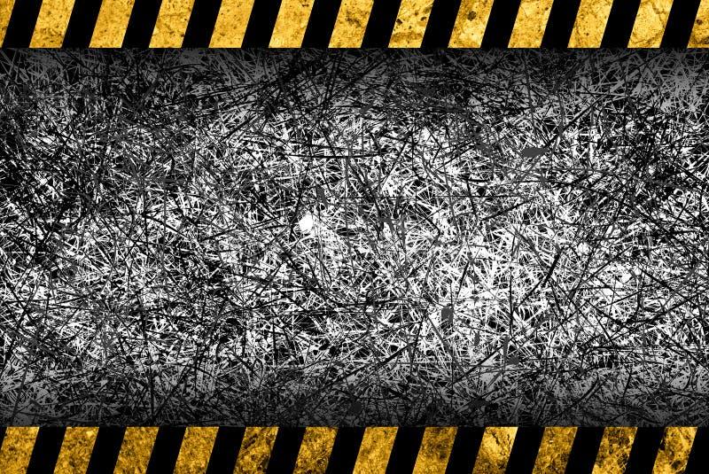 Grunge donkere grijze achtergrond met waarschuwingsstrepen stock illustratie