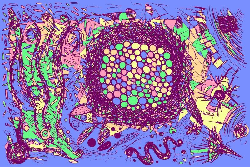 Grunge doodle narys projektujący ręka rysujący tło kolorowa abstrakcyjna ilustracja abstrakcjonistycznego grafiki t?a abstrakcjon ilustracja wektor