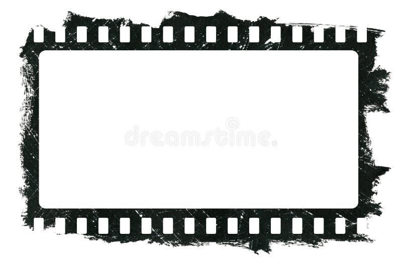 Grunge drapający brudny ekranowy pasek, czarna akwareli rama odizolowywa na białym tle ilustracja wektor