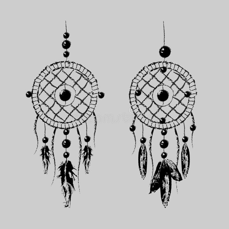 Grunge Dreamcatcher con las plumas y las ramas Sueño dulce Talismán del indio del nativo americano Diseño de Boho, arte del tatua ilustración del vector
