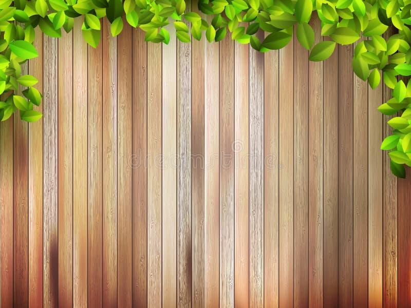 Grunge Drewniana tekstura z liśćmi. + EPS10 ilustracji