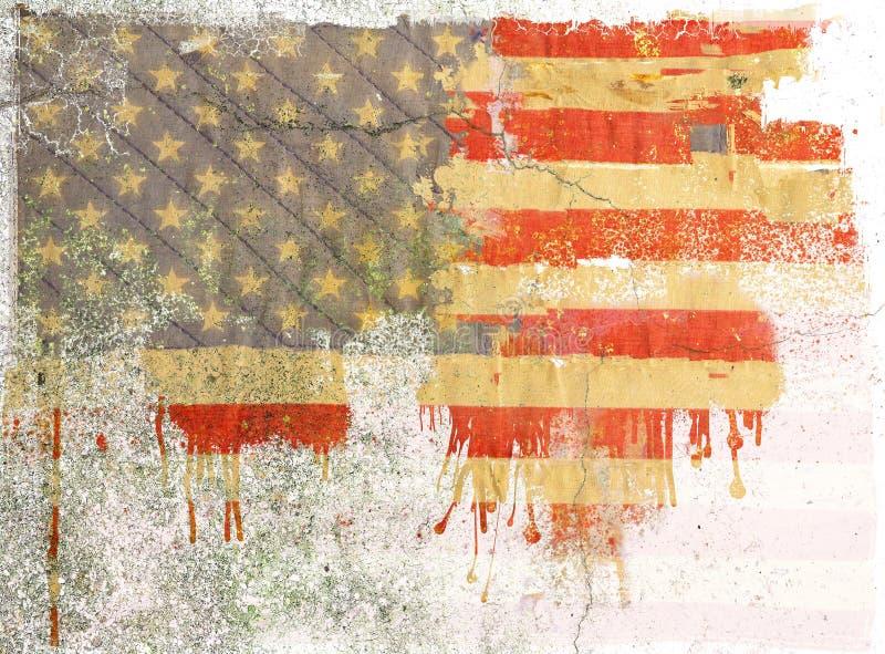 Grunge dripping american flag