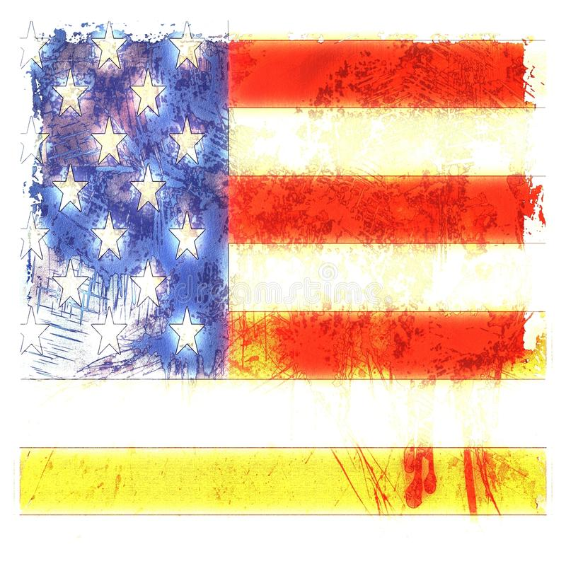 Download Grunge Dripping American Flag Stock Illustration - Illustration: 27921006