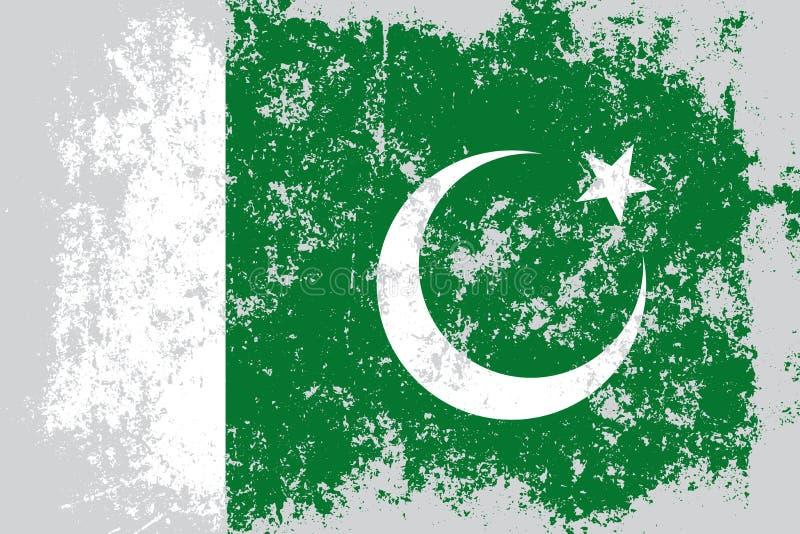 Grunge du Pakistan, vieux, rayé drapeau de style illustration libre de droits