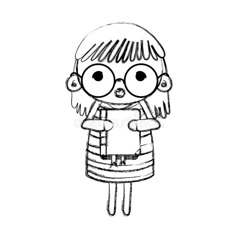 Grunge dziewczyny dziecko z szkłami i edukacja rezerwujemy royalty ilustracja