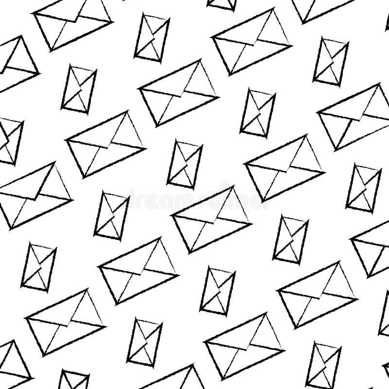 Grunge e-mail communication message technology background. Vector illustration stock illustration