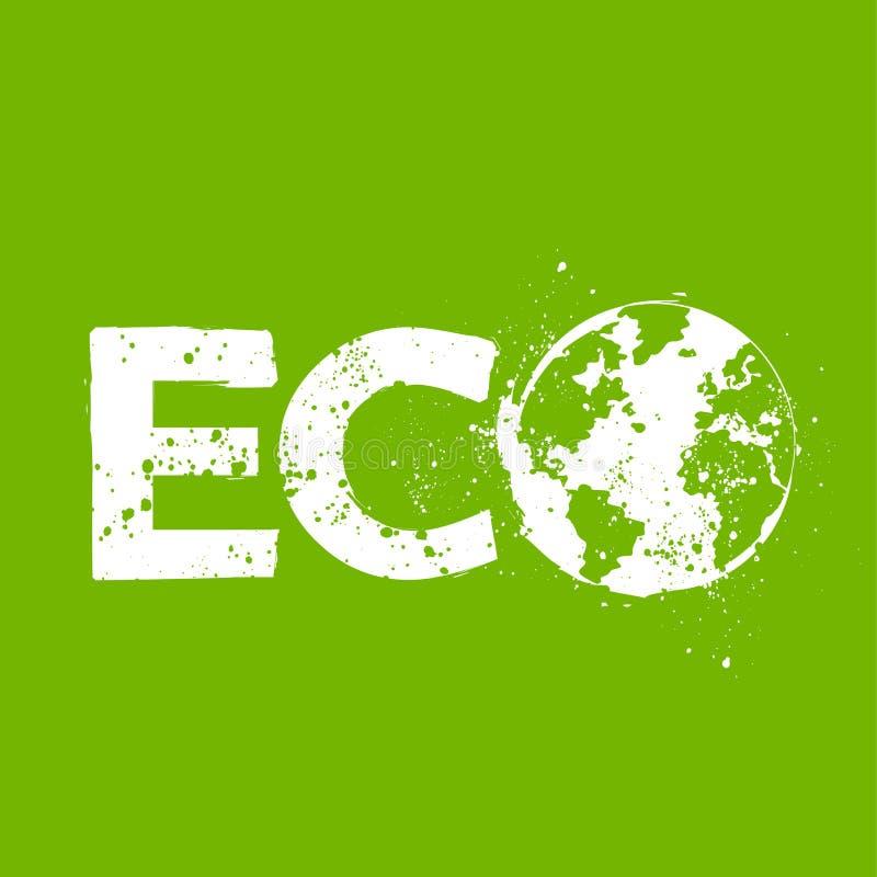 Grunge eco symbol vector illustration