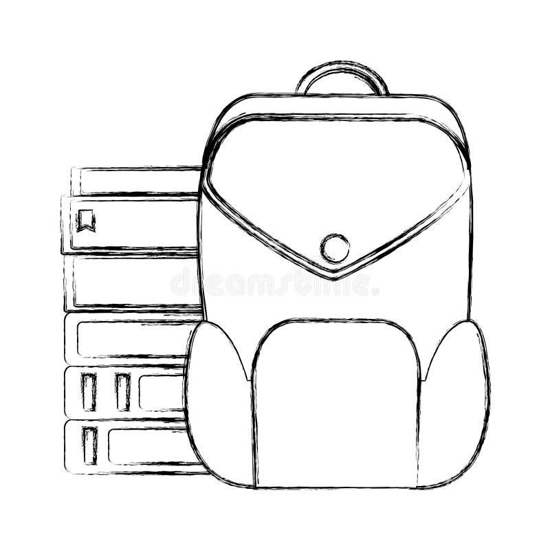 Grunge edukacji książki z plecak szkoły narzędziami royalty ilustracja