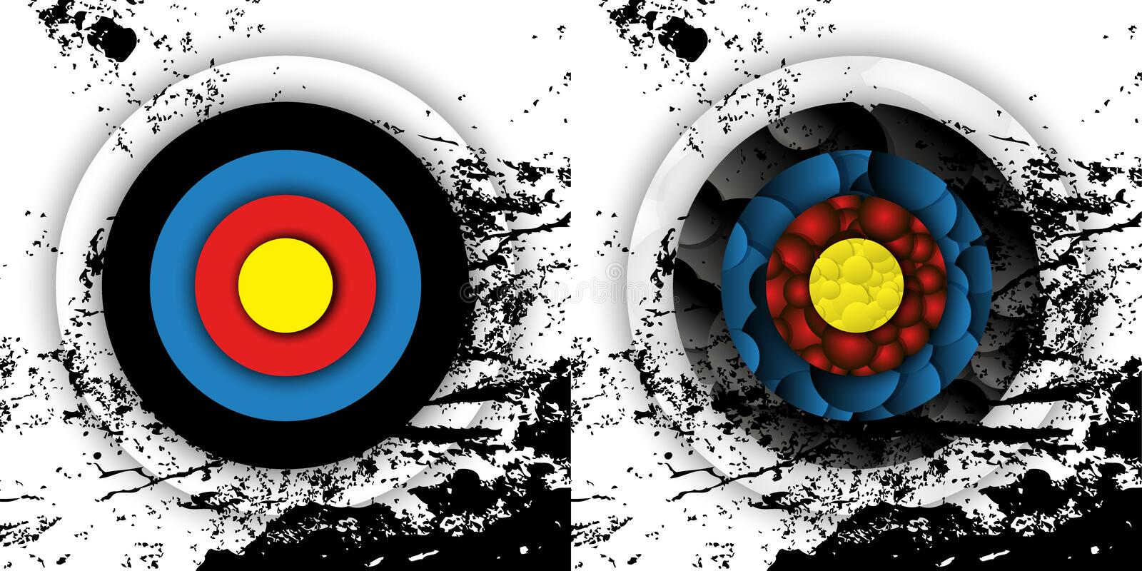 Grunge effect archery targets vector illustration