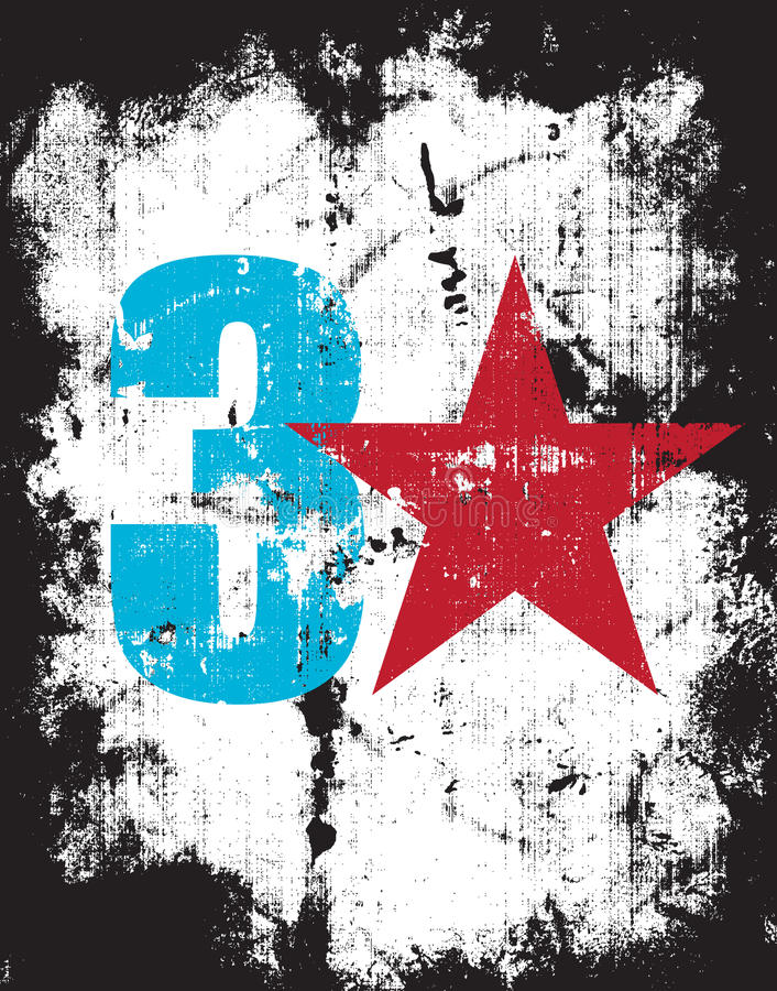 Grunge Effect Number Three Plus a Red Star stock illustration