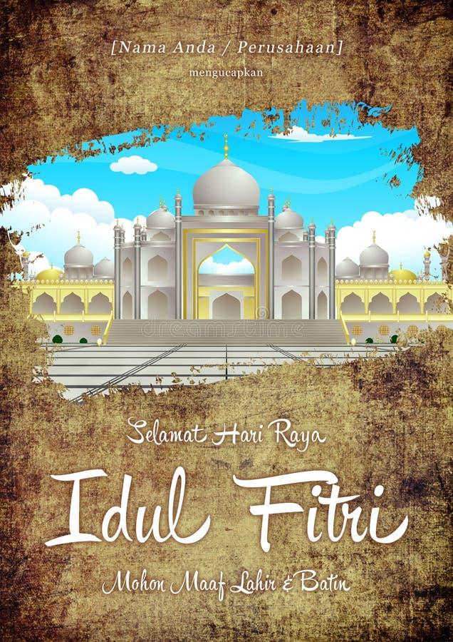 Grunge elegante de Selamat Hari Raya Idul Fitri Hapus Dosa dan Kembali Suci Ramadhan e cartão do ouro com mesquita e desejos ilustração do vetor