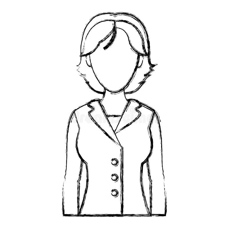 Grunge elegante vrouw met korte haar en blouse vector illustratie