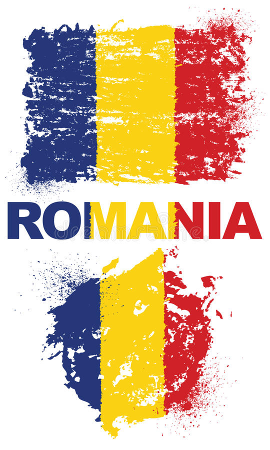 Grunge elementy z flaga Rumunia obraz royalty free
