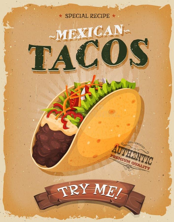 Grunge en Uitstekende Mexicaanse Taco'saffiche royalty-vrije illustratie
