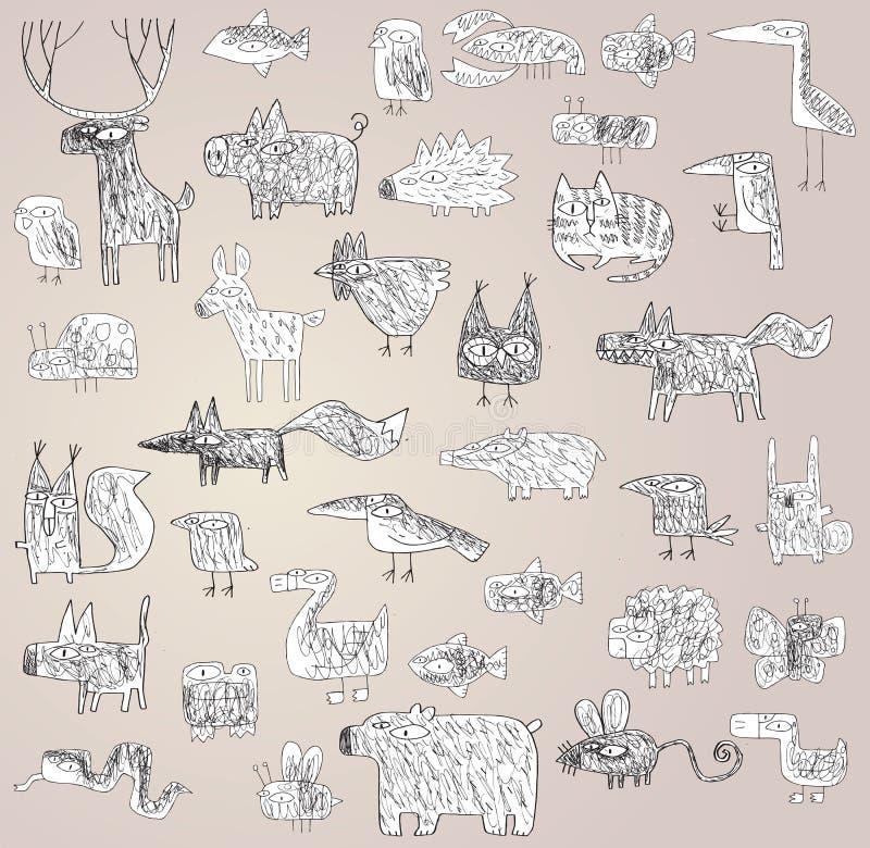 Grunge Engraçado Coleção Rabiscada Dos Animais Em Preto E Branco Fotos de Stock