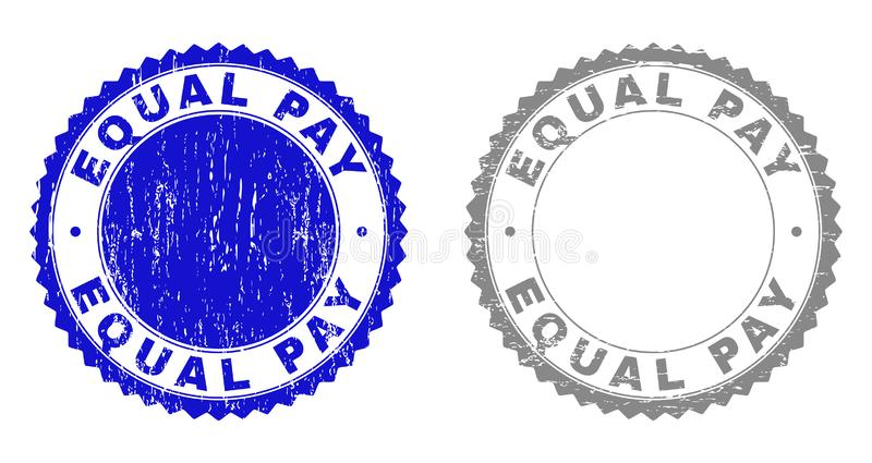 Grunge EQUAL PAY Textured Stamps. Grunge EQUAL PAY stamp seals isolated on a white background. Rosette seals with grunge texture in blue and gray colors. Vector vector illustration