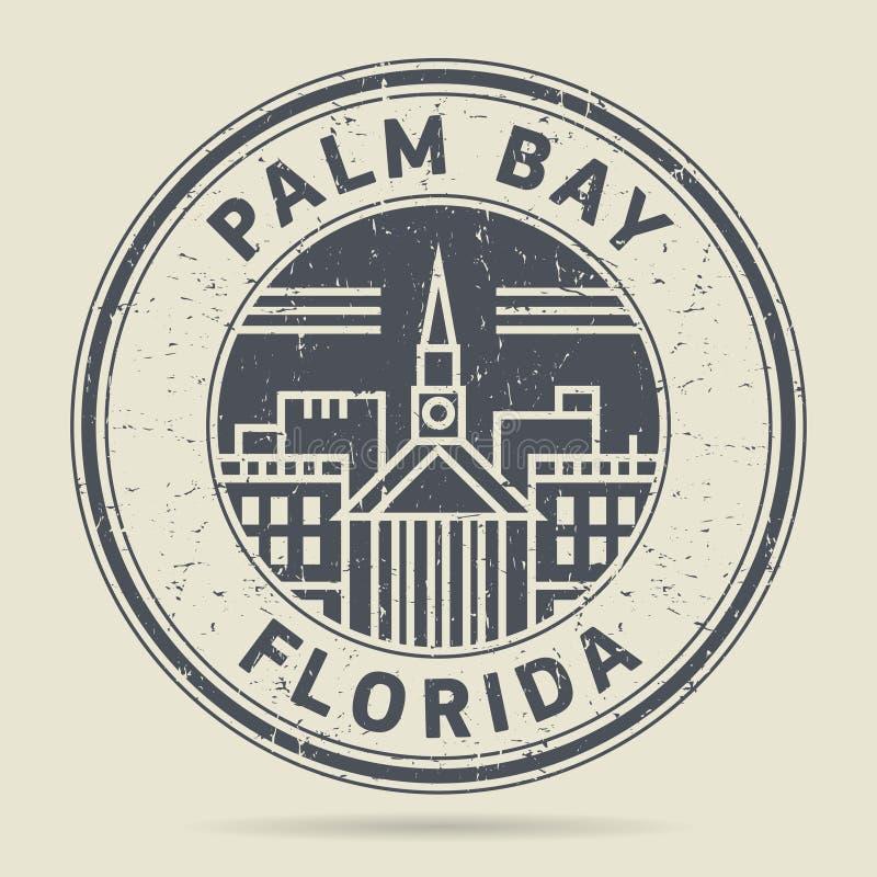 Grunge etykietka z tekst palmy zatoką lub pieczątka, Floryda ilustracja wektor