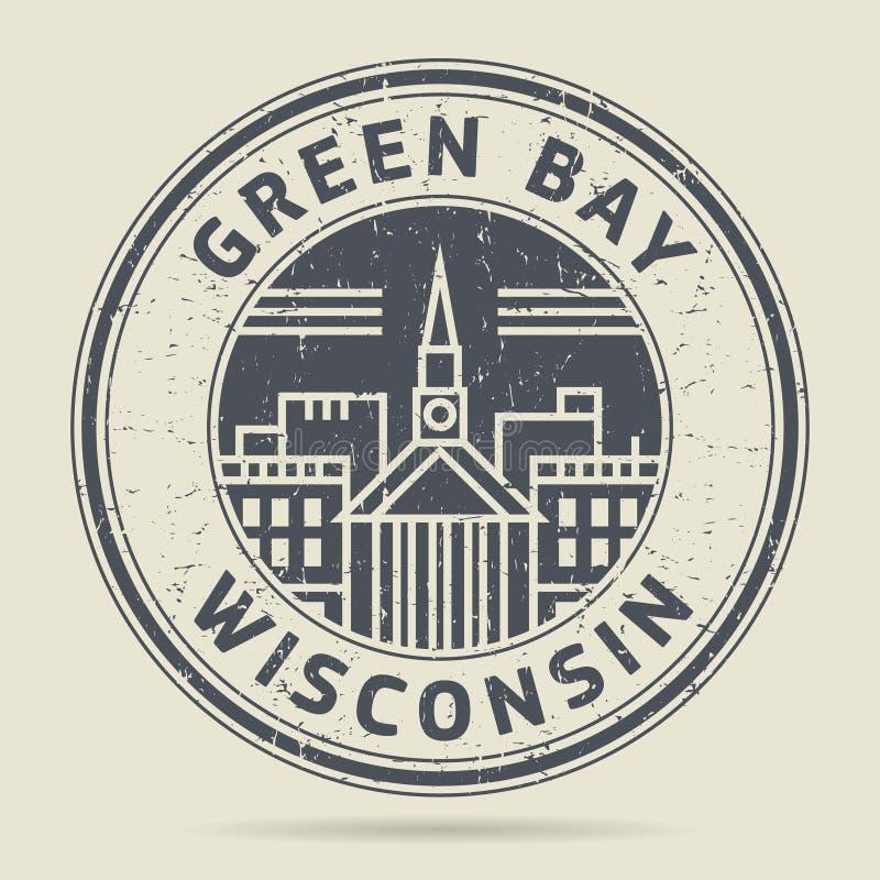 Grunge etykietka z tekst zieloną zatoką lub pieczątka, Wisconsin ilustracji