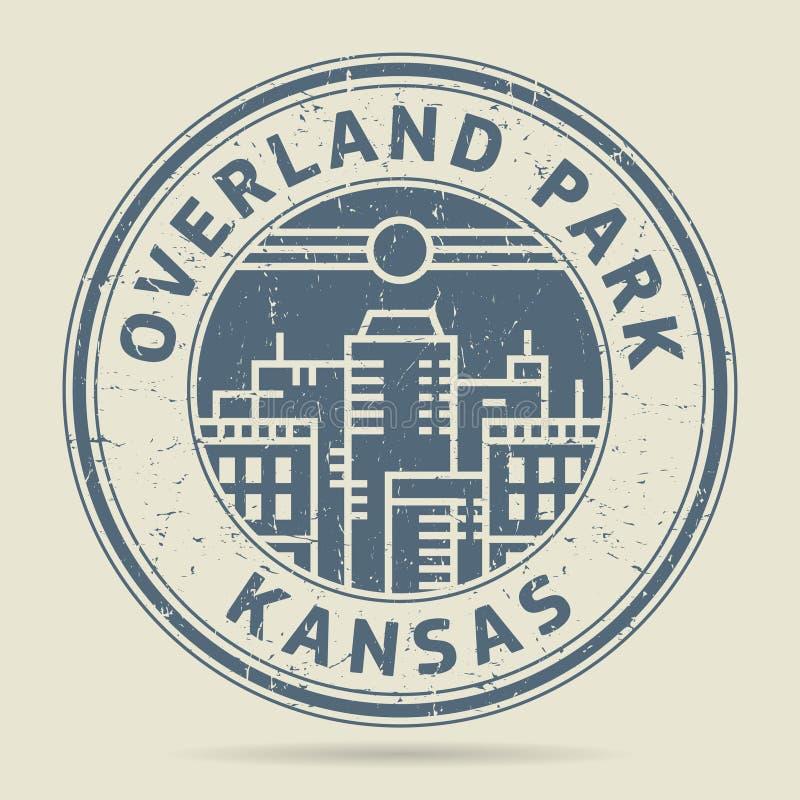 Grunge etykietka z teksta Lądowym parkiem lub pieczątka, Kansas ilustracji