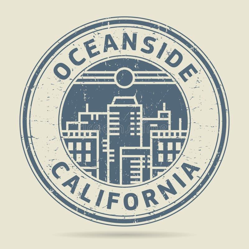 Grunge etykietka z teksta oceanside lub pieczątka, Kalifornia royalty ilustracja
