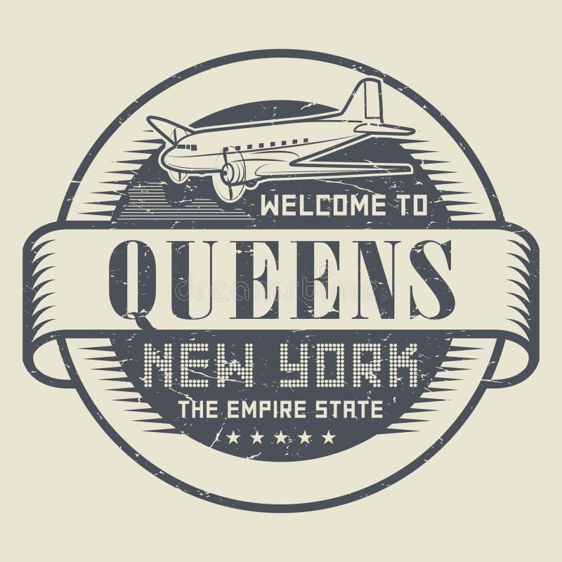 Grunge etykietka z teksta powitaniem queens lub pieczątka, Nowy Jork royalty ilustracja