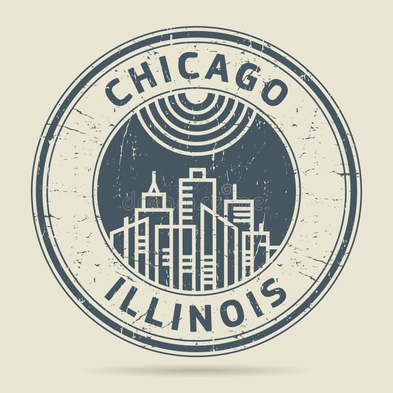 Grunge etykietka z tekstem Chicago lub pieczątka, Illinois ilustracja wektor