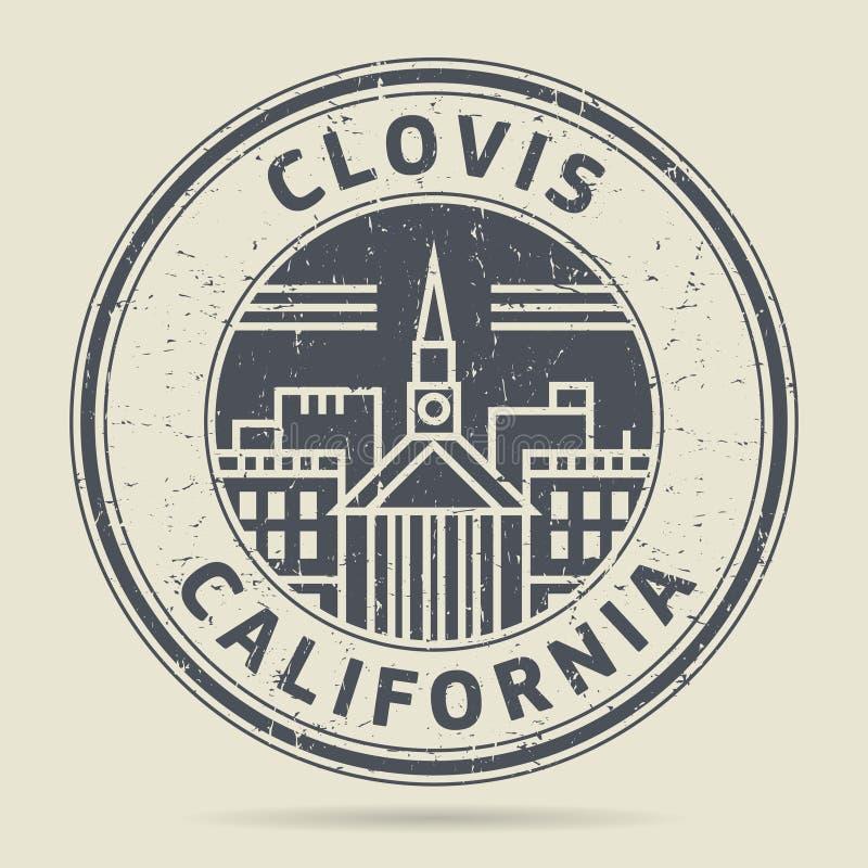 Grunge etykietka z tekstem Clovis lub pieczątka, Kalifornia ilustracja wektor