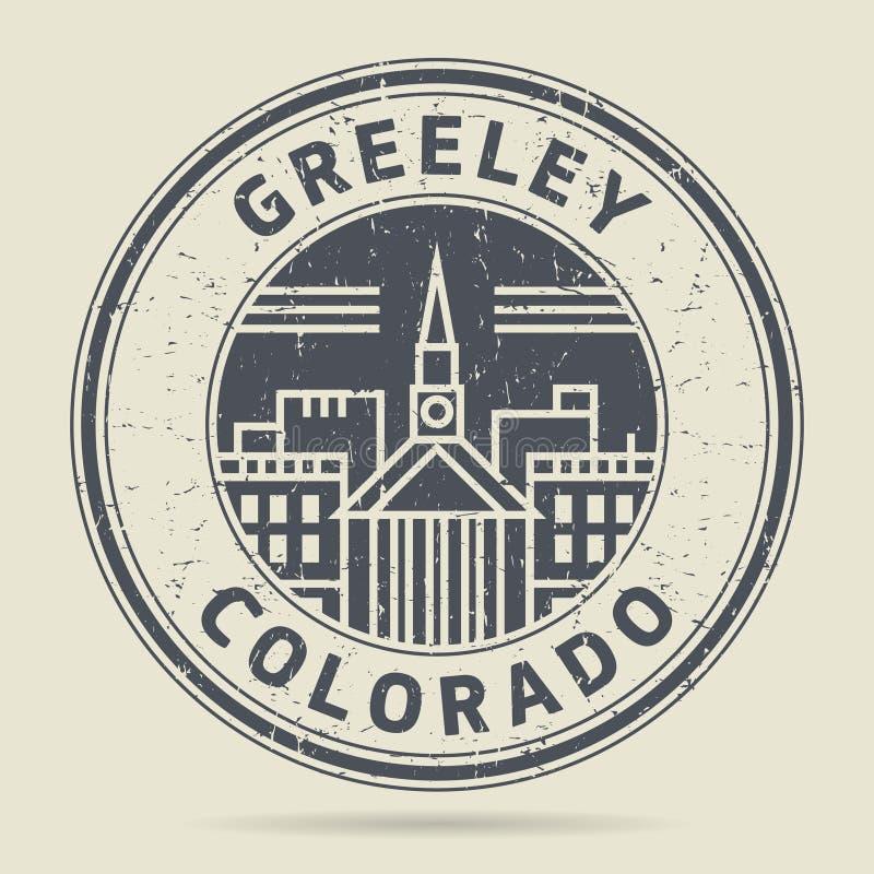 Grunge etykietka z tekstem Greeley lub pieczątka, Kolorado royalty ilustracja