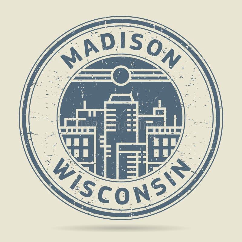 Grunge etykietka z tekstem Madison lub pieczątka, Wisconsin ilustracja wektor