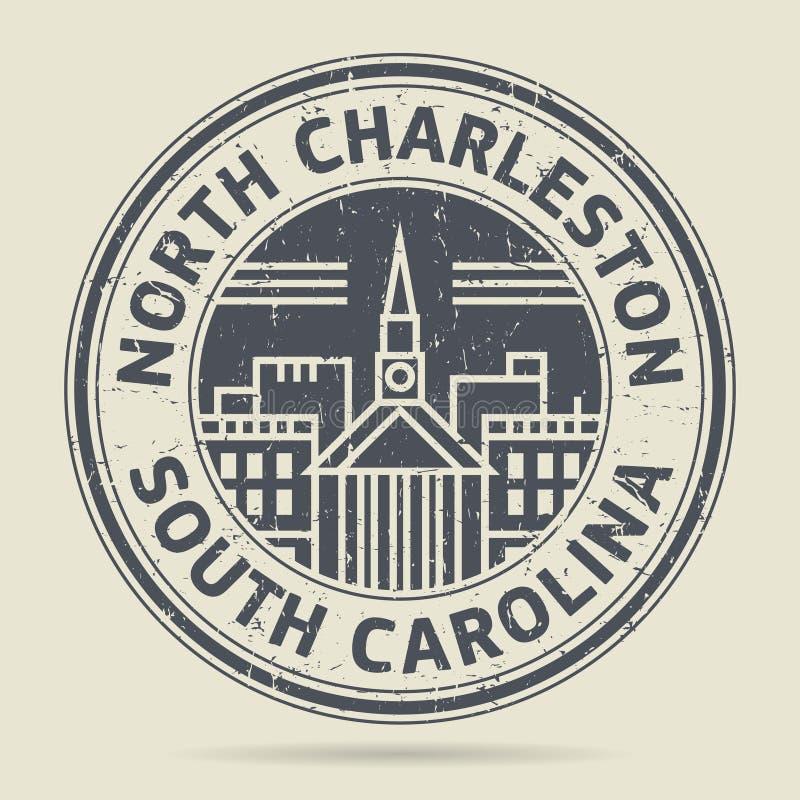 Grunge etykietka z tekstem Północny Charleston lub pieczątka, południe C royalty ilustracja