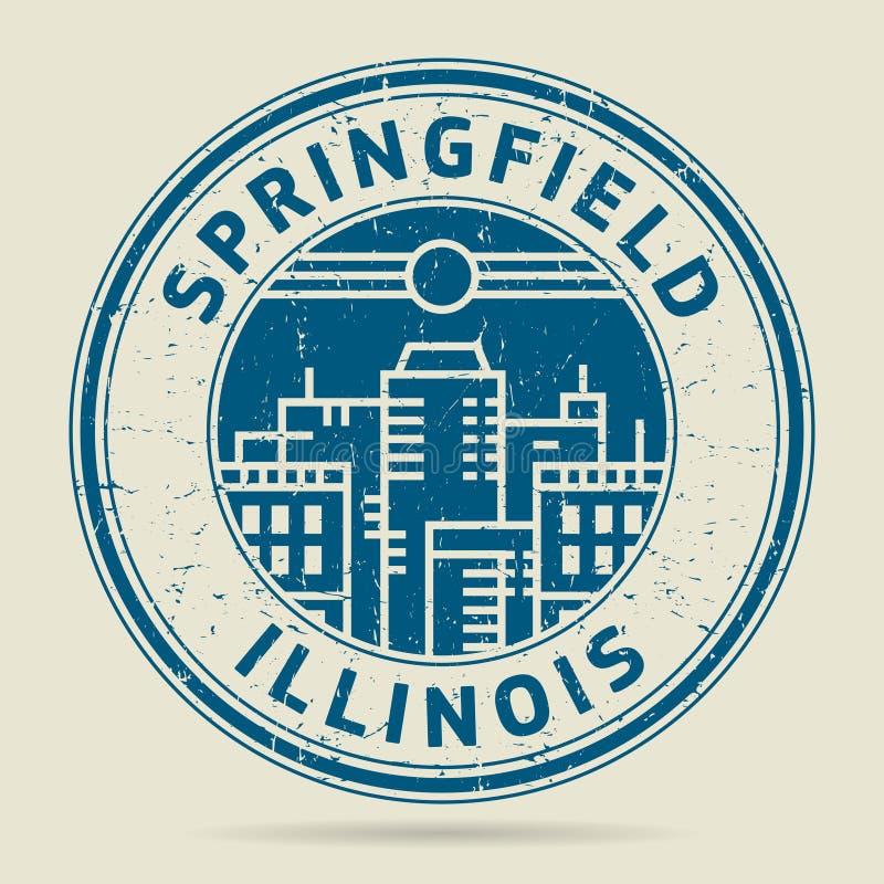 Grunge etykietka z tekstem Springfield lub pieczątka, Illinois ilustracji