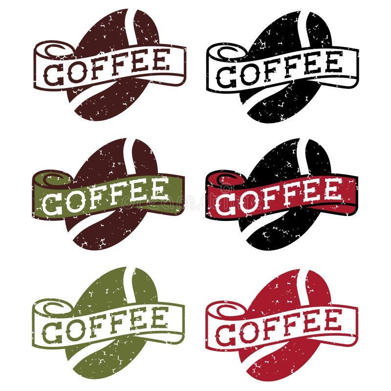 grunge etykietki z kawową fasolą ilustracja wektor