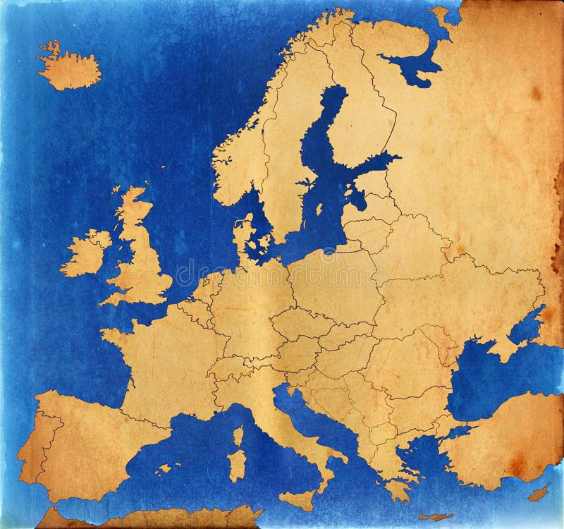 Grunge Europe map stock photography