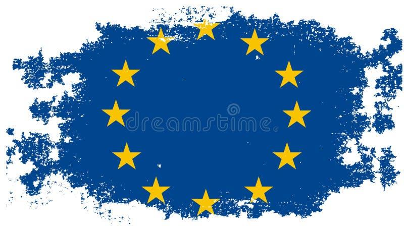 Grunge European Union flag vector illustration