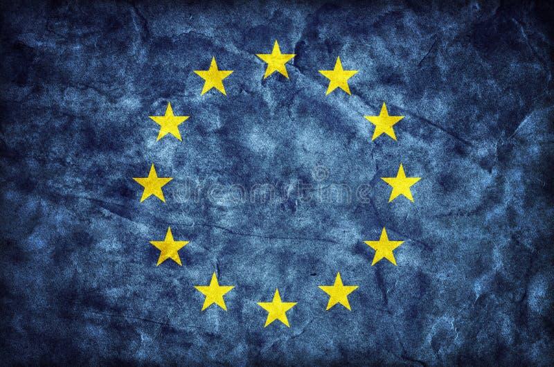 Grunge Europejska Zrzeszeniowa flaga, papierowa tekstura UE royalty ilustracja