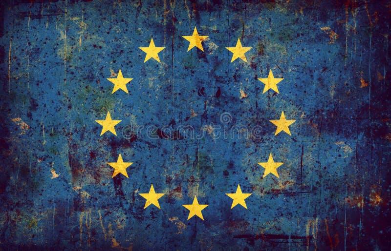 grunge europejskim europejska flaga royalty ilustracja