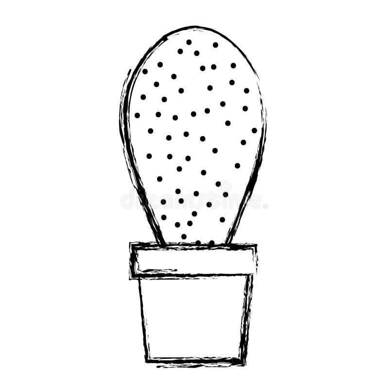 Grunge exotische installatie met aardig blad in de bloempot stock illustratie